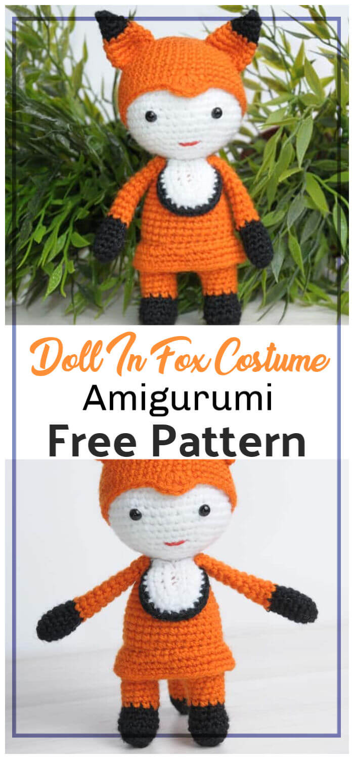 Crochet Amigurumi Doll In Fox Costume Free Pattern