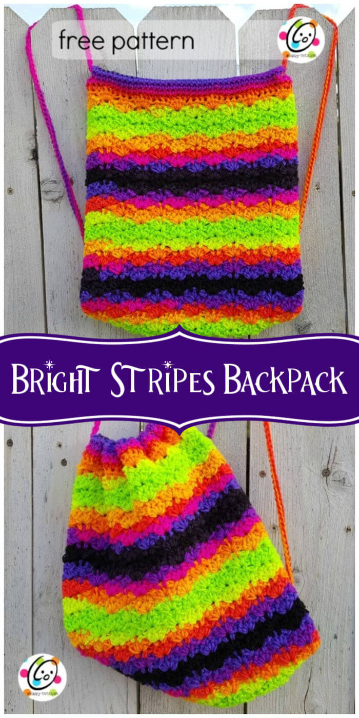 Crochet Bright Stripes Backpack Free Pattern