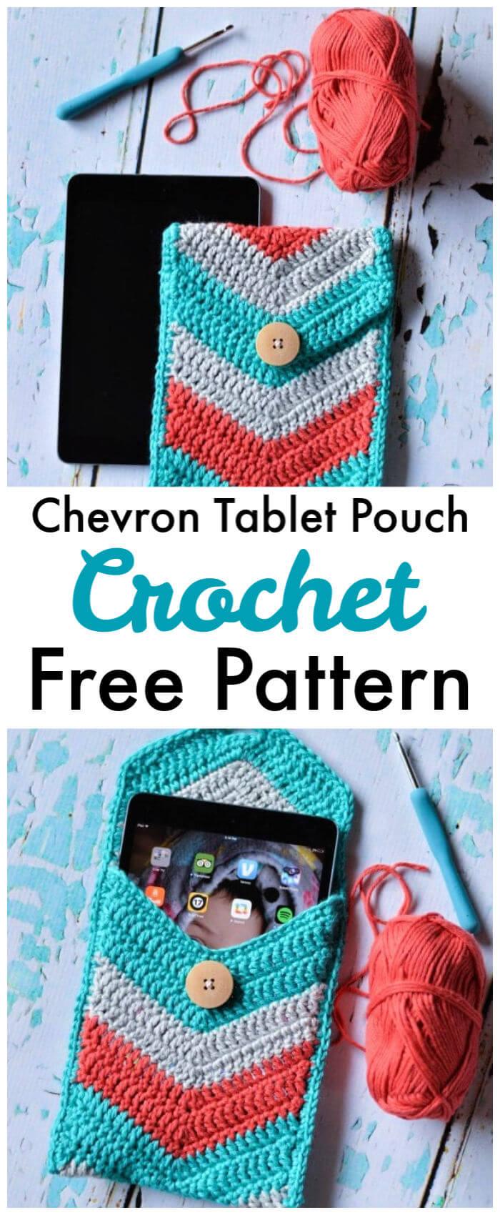 Crochet Chevron Tablet Pouch – Free Pattern
