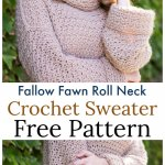 Crochet Fallow Fawn Roll Neck Sweater Free Pattern