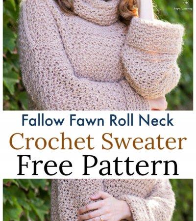Crochet Fallow Fawn Roll Neck Sweater Free Pattern