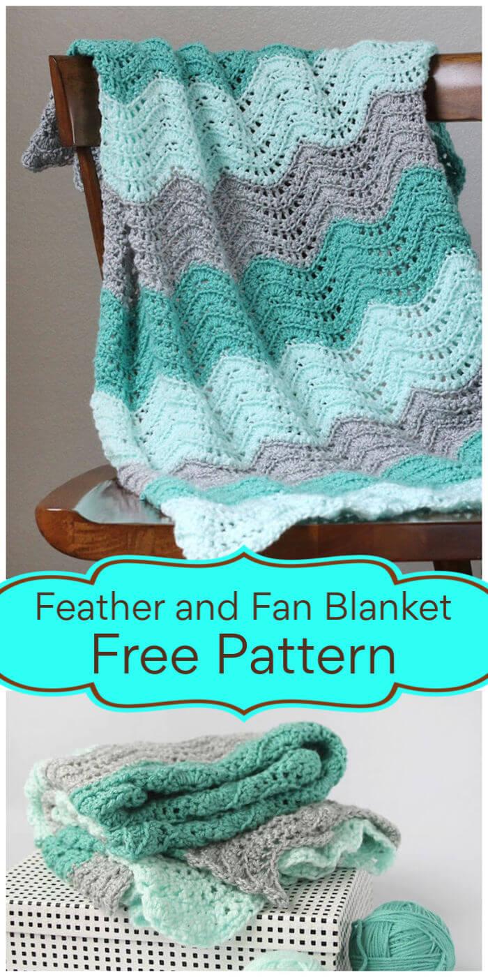 Crochet Feather and Fan Baby Blanket – Free Pattern