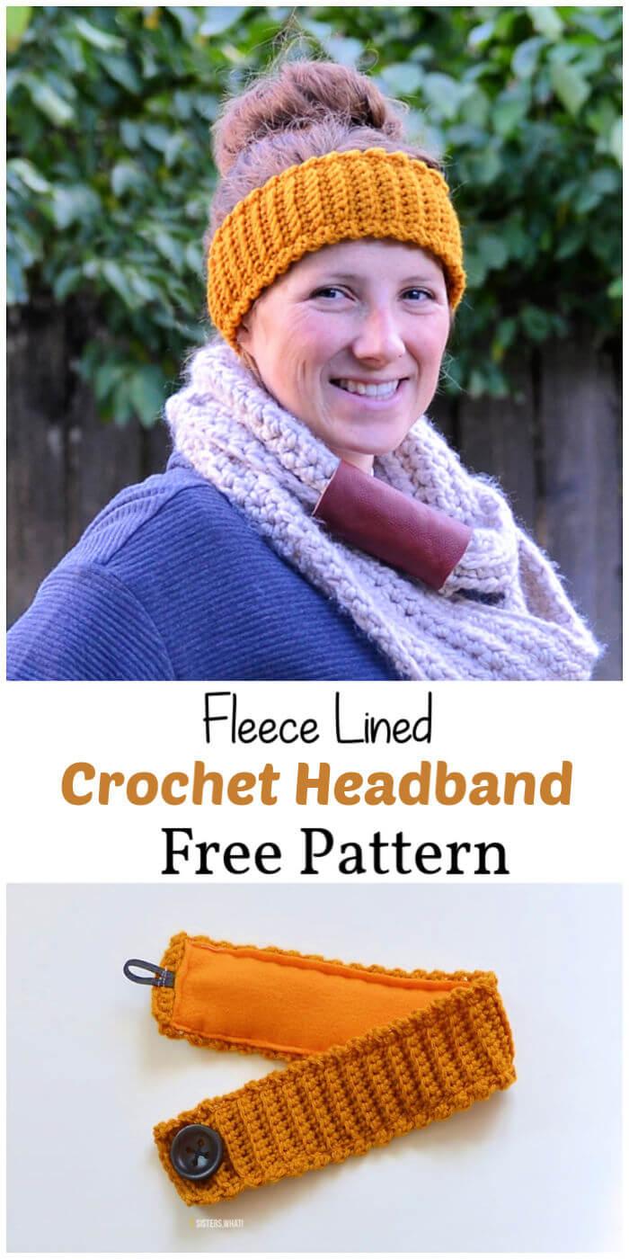 Crochet Fleece Lined Headband Free Pattern