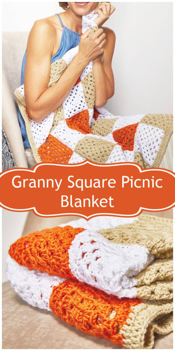Crochet Granny Square Picnic Blanket