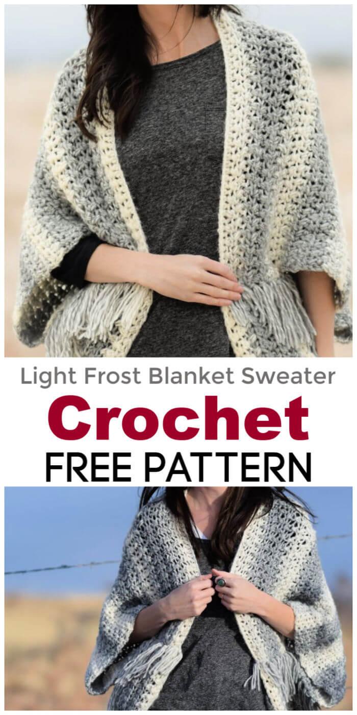Crochet Light Frost Blanket Sweater Free Pattern