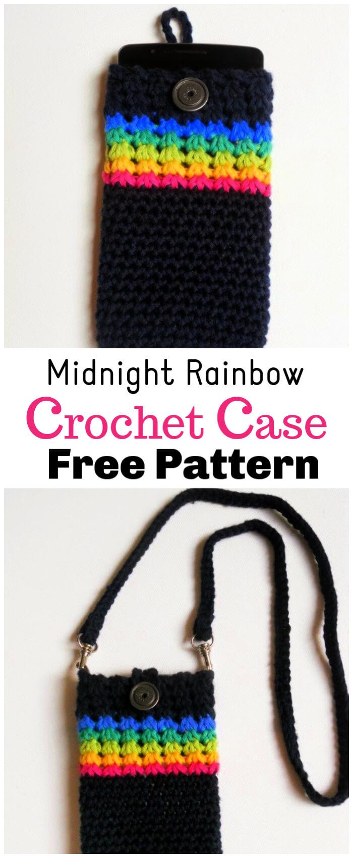 Crochet Midnight Rainbow Phone Cover Free Pattern