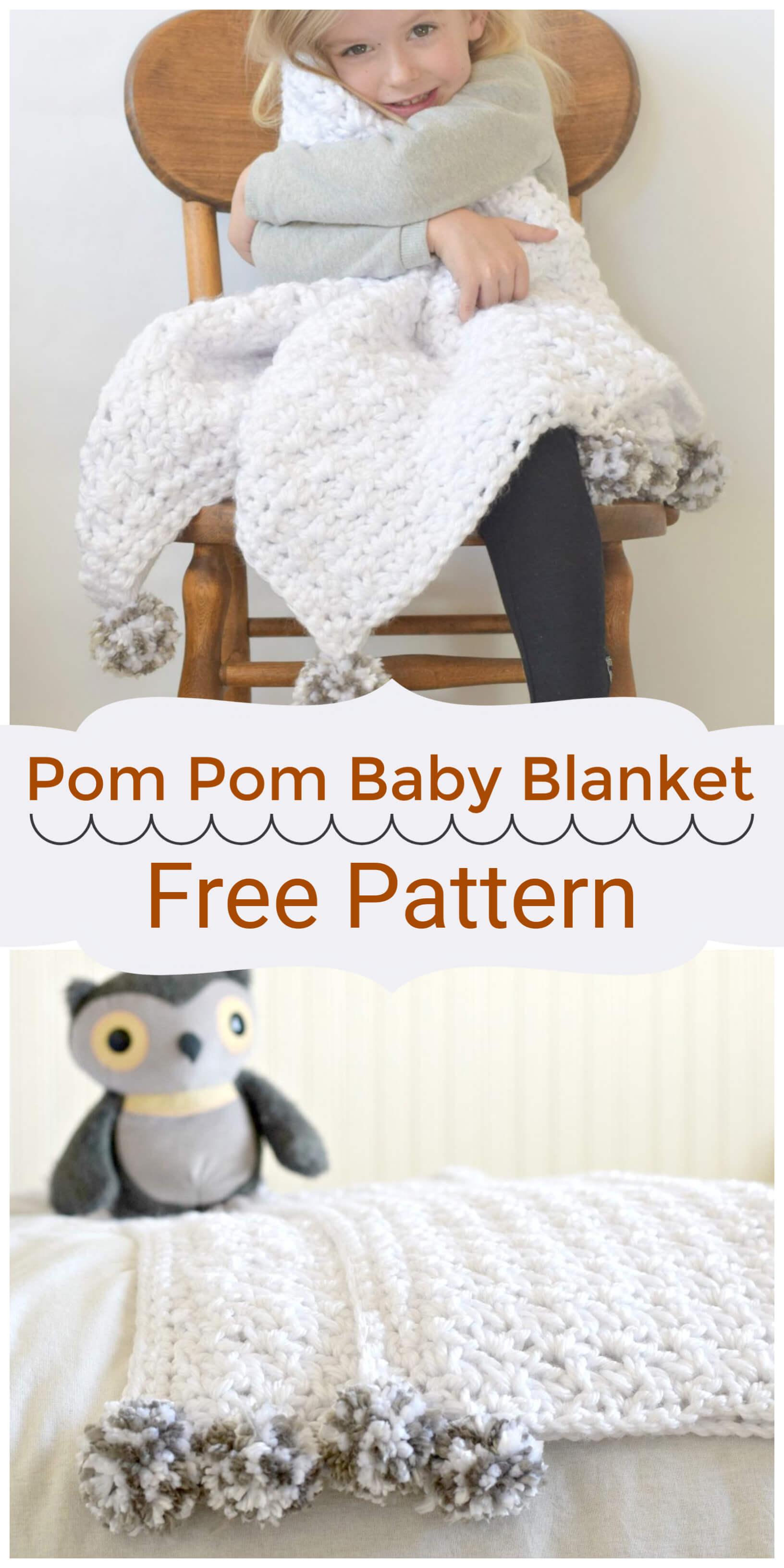 Crochet Pom Pom Baby Blanket