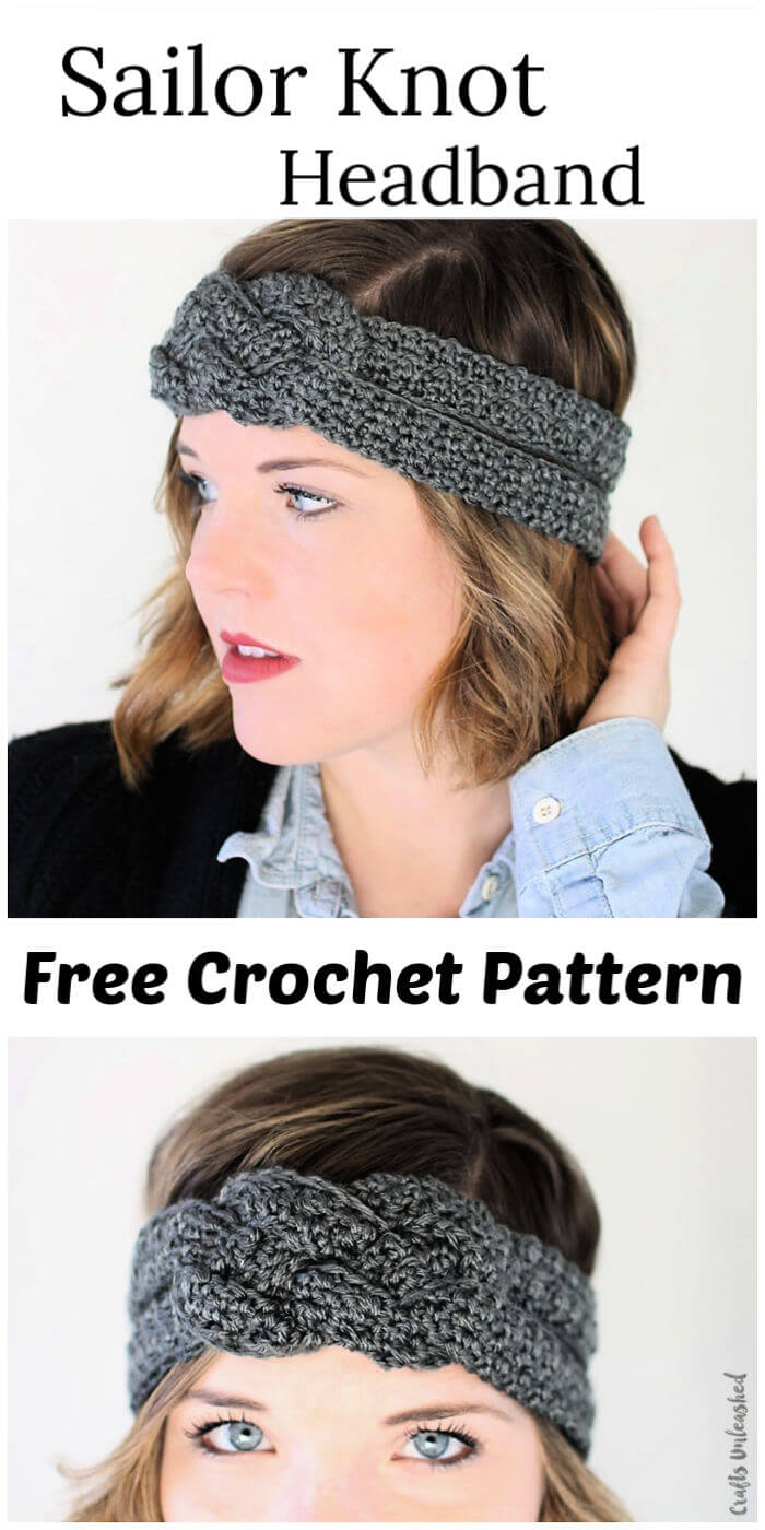 Crochet Sailor Knot Headband Free Pattern 1