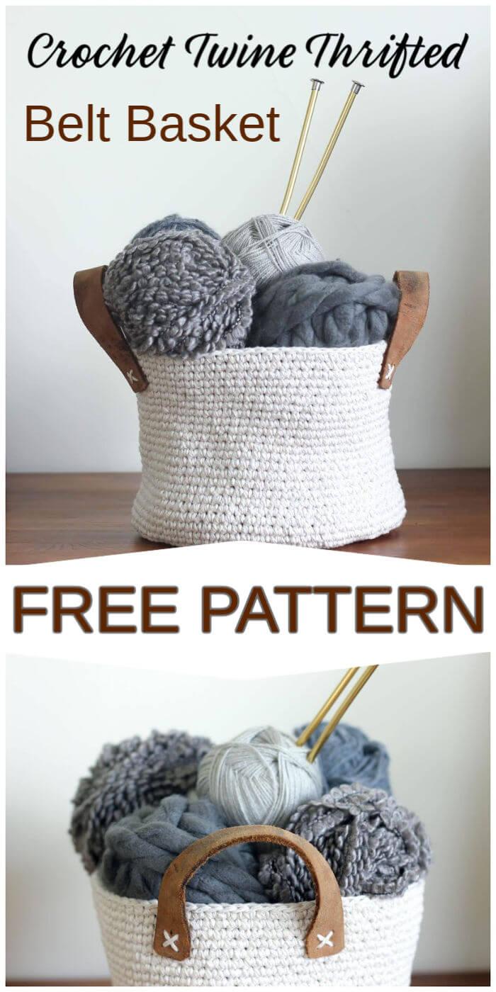 Crochet Twine Thrifted Belt Basket Free Pattern