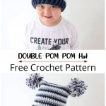 Free Crochet Double Pom Pom Hat Pattern