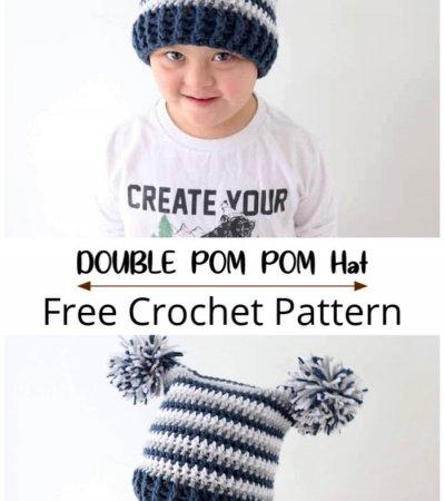 Free Crochet Double Pom Pom Hat Pattern
