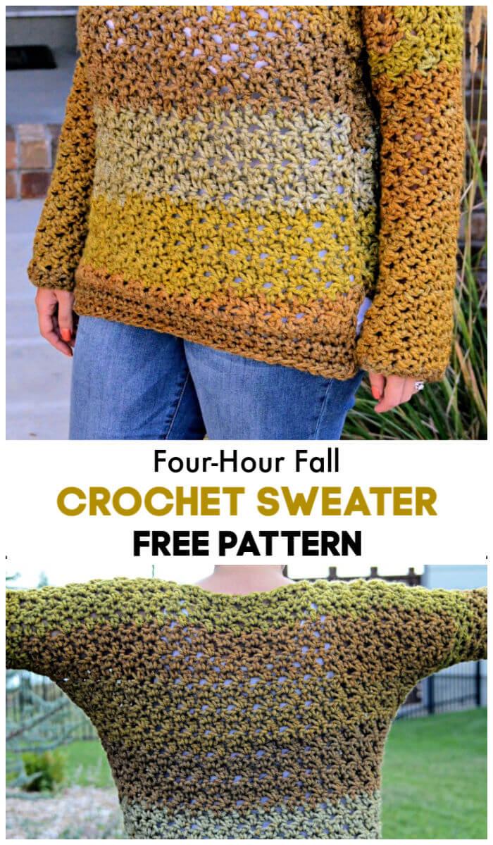 Free Crochet Four Hour Fall Sweater Pattern