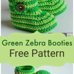 Free Crochet Green Zebra Booties Pattern