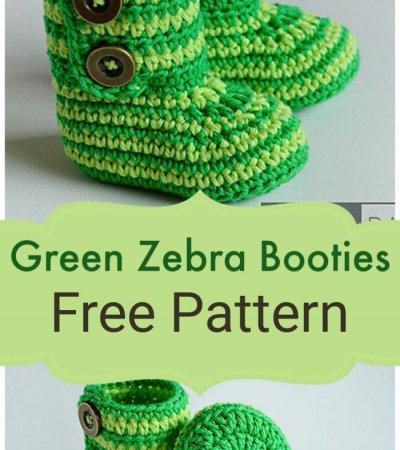 Free Crochet Green Zebra Booties Pattern