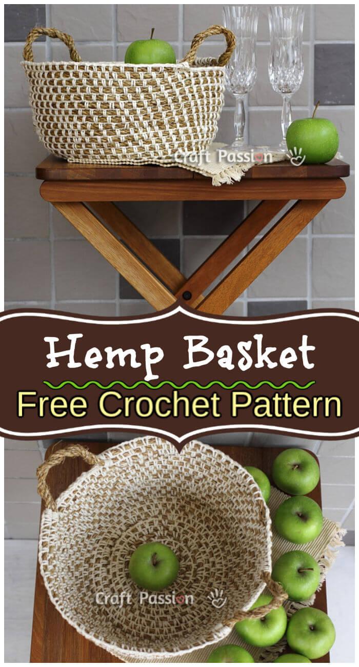 Free Crochet Hemp Basket Pattern