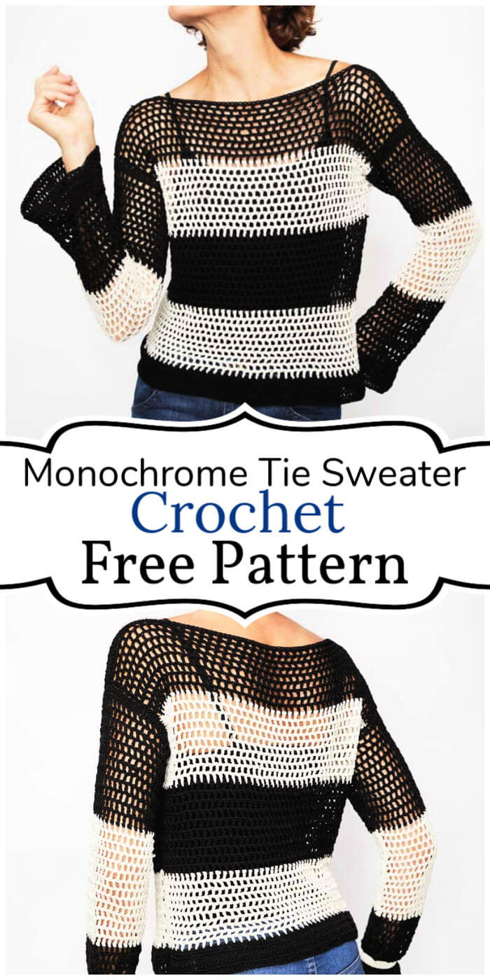 Free Crochet Monochrome Tie Sweater Pattern