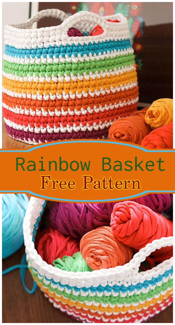 Free Crochet Rainbow Storage Basket Pattern