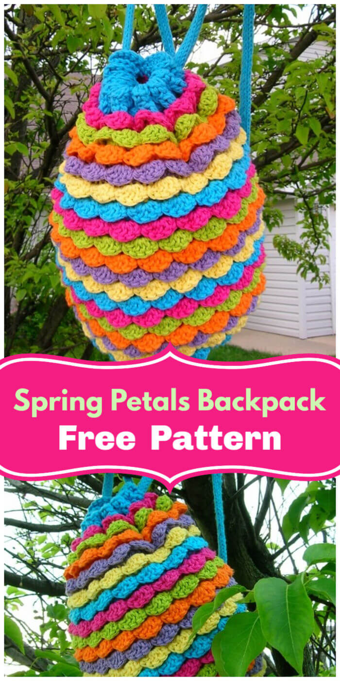 Free Crochet Spring Petals Backpack Pattern