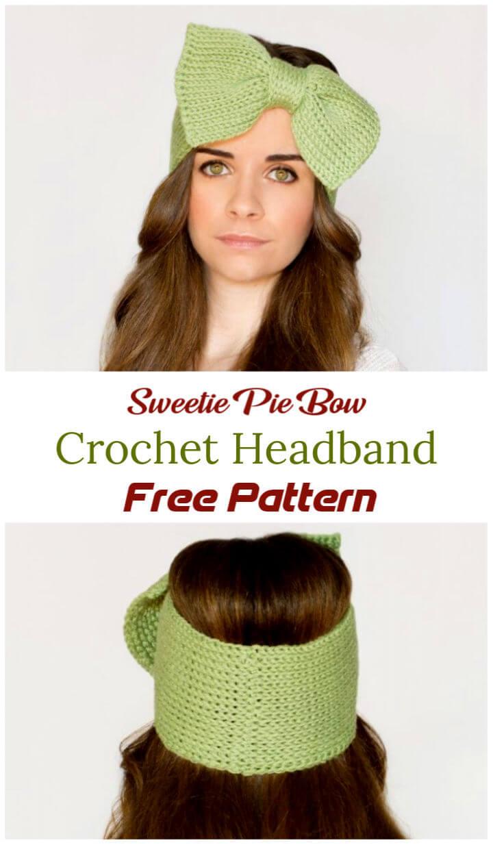 Free Crochet Sweetie Pie Bow Headband Pattern 1