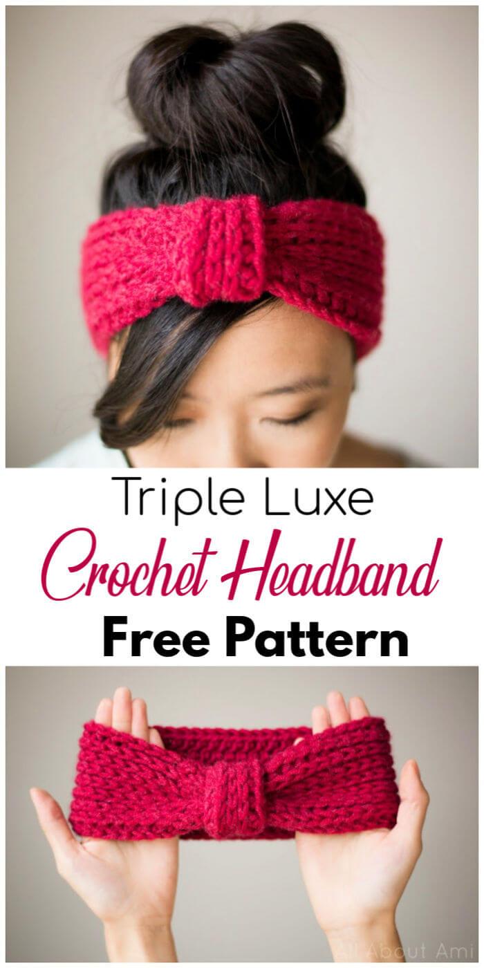 Free Crochet Triple Luxe Headband Pattern 2