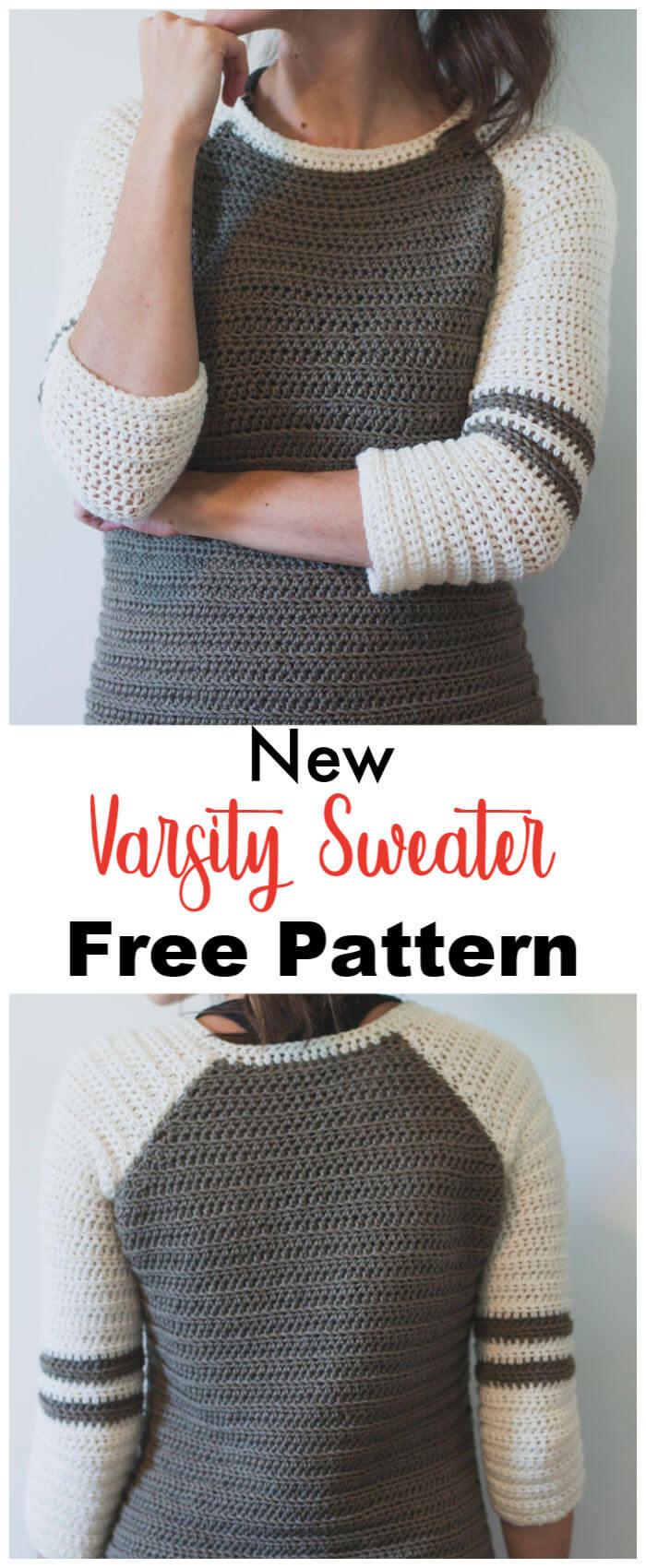 Free Crochet Varsity Sweater Pattern