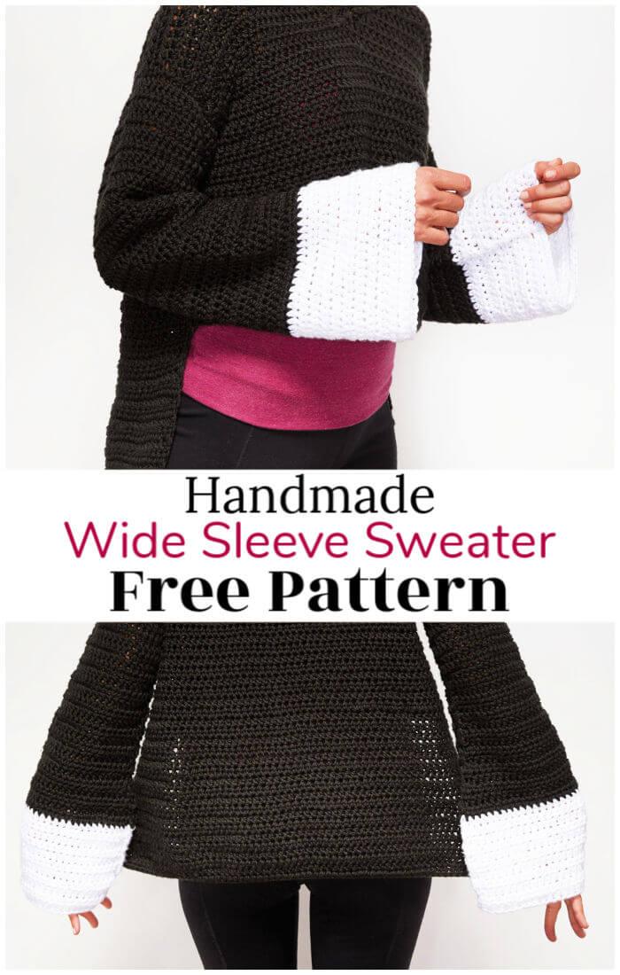 Free Crochet Wide Sleeve Sweater Pattern