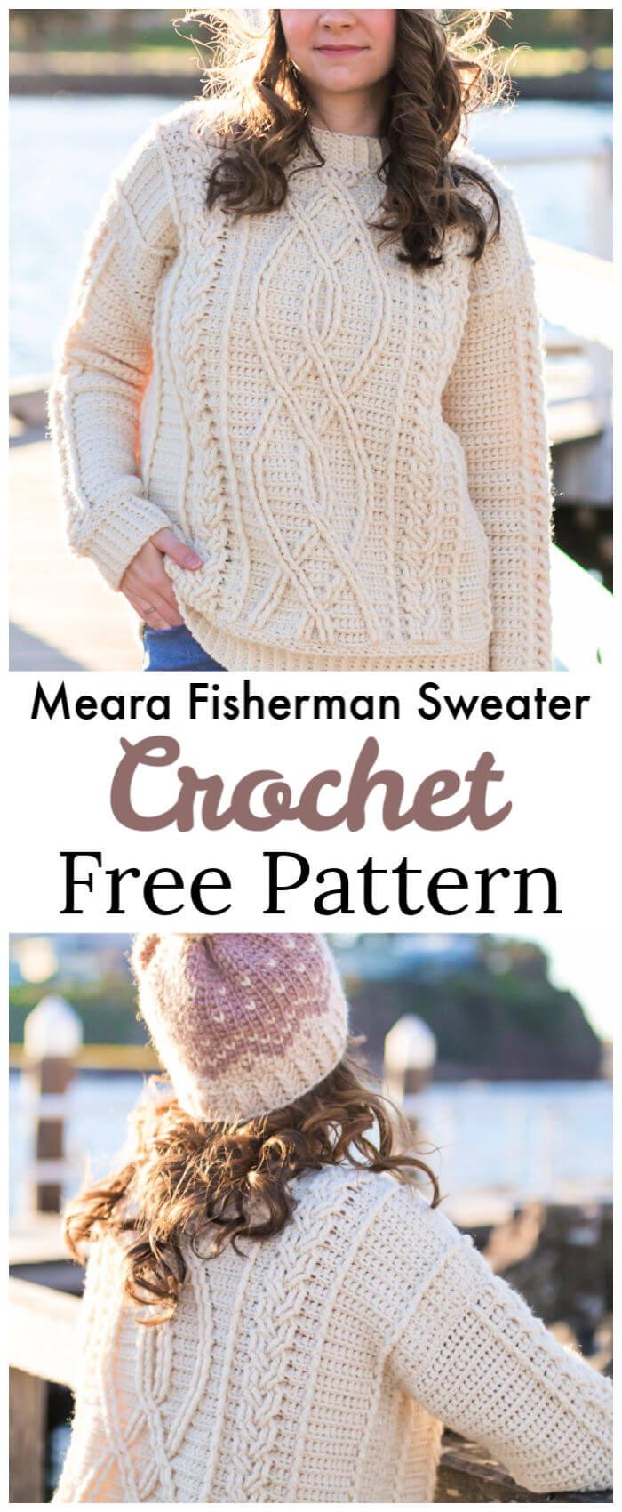 Meara Fisherman Sweater Free Crochet Pattern