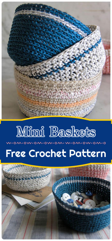Mini Crochet Baskets Free Pattern