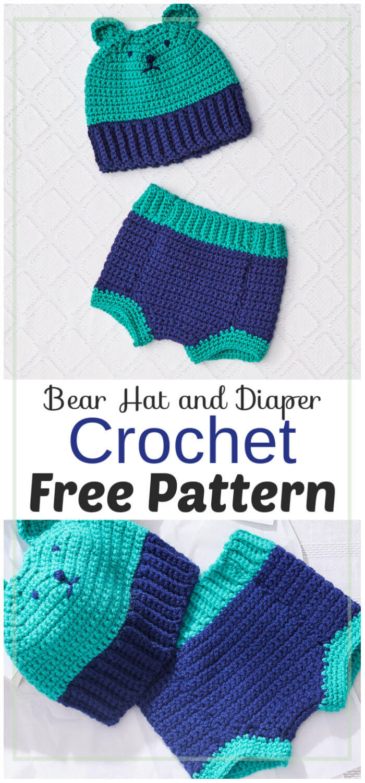 Bear Hat and Diaper Free Crochet Pattern