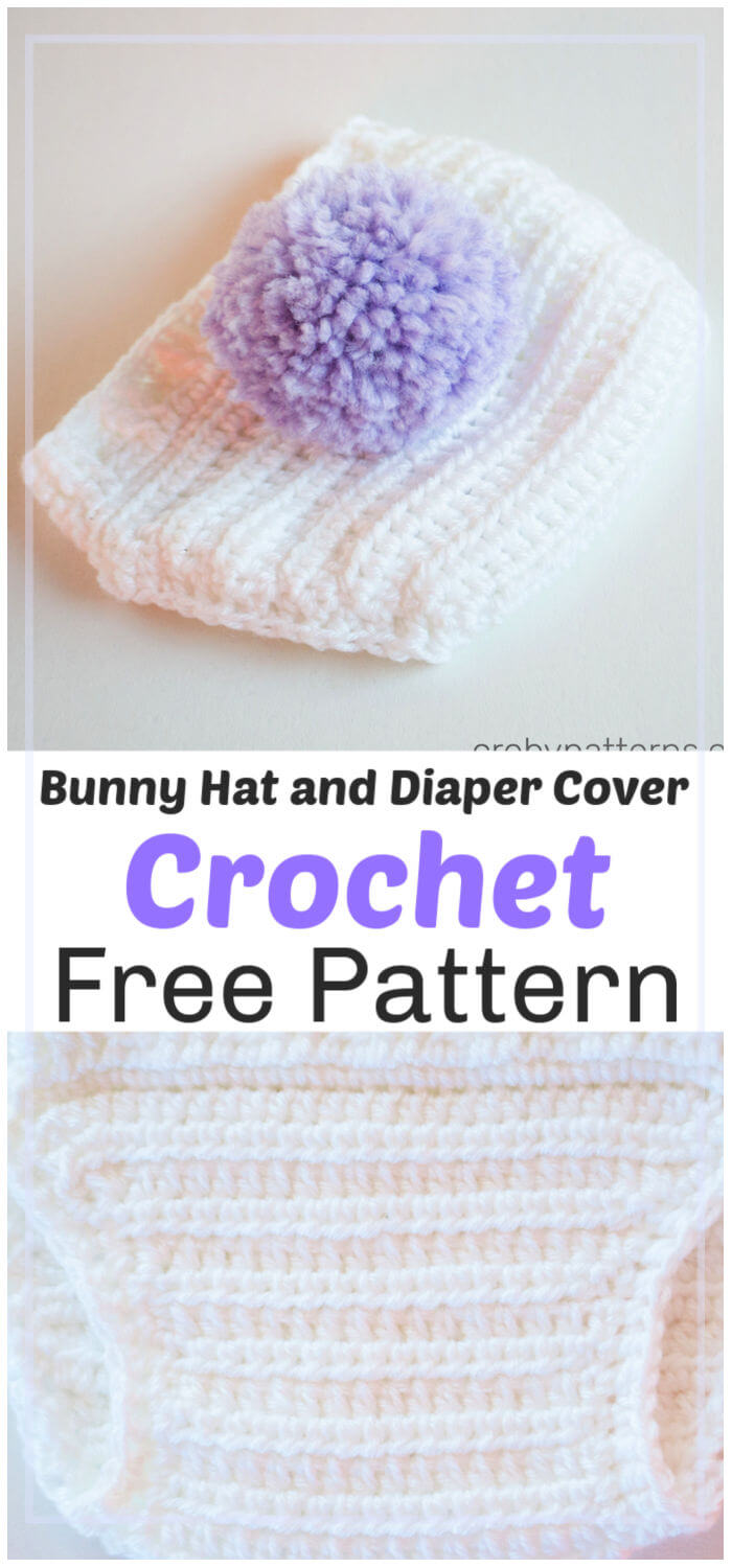 Bunny Hat and Diaper Cover Free Crochet Pattern