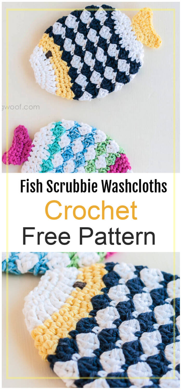 Free Crochet Fish Scrubbie Washcloths Pattern
