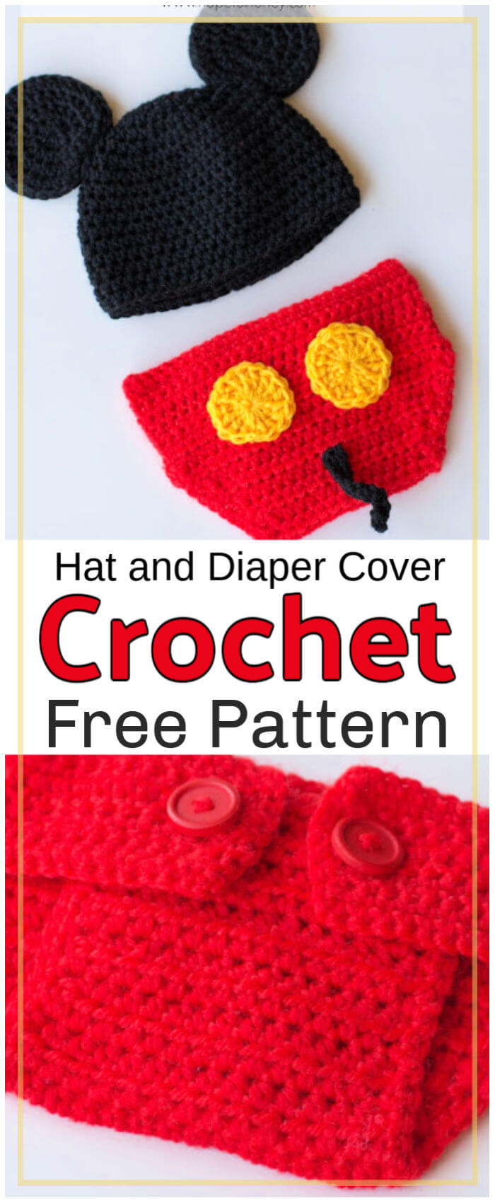 Free Crochet Mickey Mouse Hat and Diaper Cover Pattern
