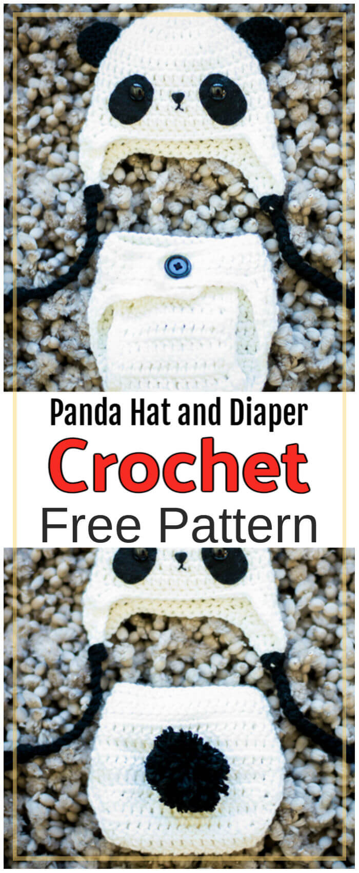 Free Crochet Panda Hat and Diaper Cover Pattern