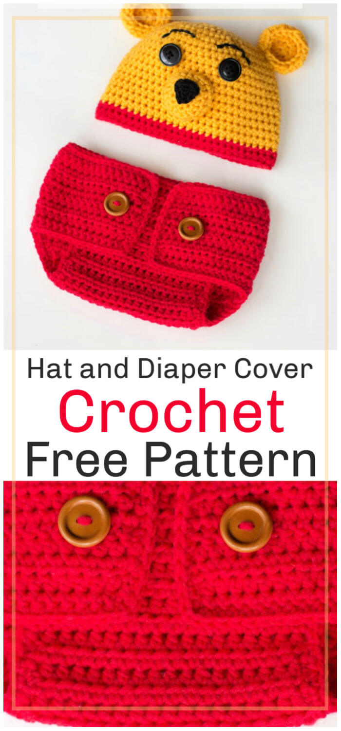 Free Crochet Winnie the Pooh Inspired Hat and Diaper Cover Pattern